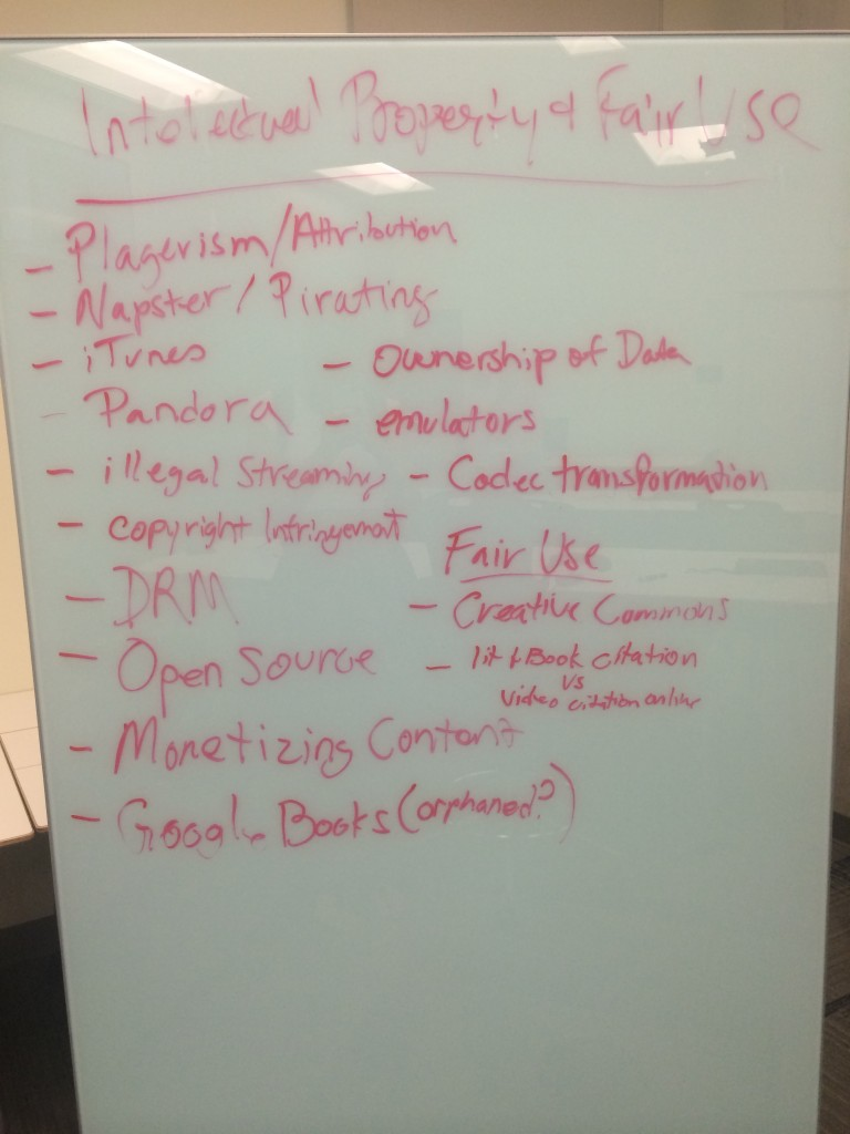 TIC104 White Board Brainstorming